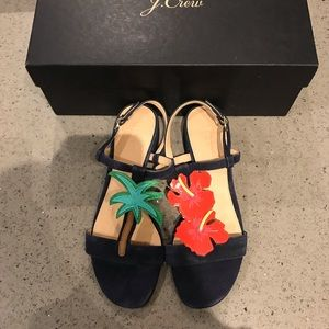 J. Crew tropical sandals in navy suede